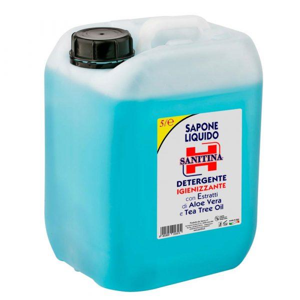 Sapone liquido Detergente igienizzante con estratti di Aloe Vera e Tea Tree Oil 5 litri