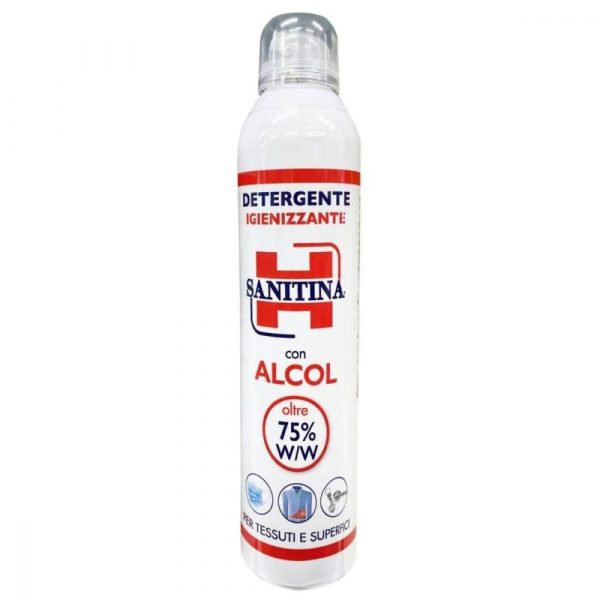 Spray Sanitina 300 ml con alcol 75 igienizzante per tessuti e superfici